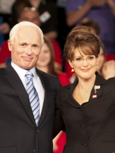 Ed Harris as John McCain and Julianne Moore as Sarah Palin in HBO's 'Game Change'