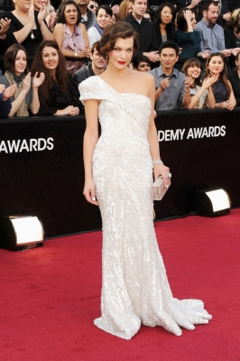 Milla Jovovich dazzles in white at the 84th Annual Academy Awards held at the Hollywood &amp; Highland Center in Hollywood, Calif. on February 26, 2012