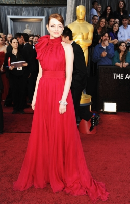 Emma Stone looks radiant in red at the 84th Annual Academy Awards held at the Hollywood &amp; Highland Center in Hollywood, Calif. on February 26, 2012 
