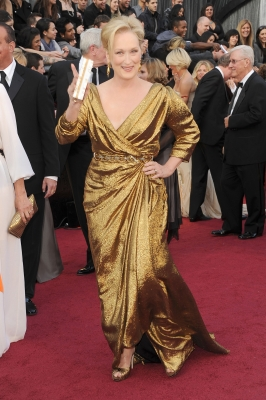 Meryl Streep shines in gold at the 84th Annual Academy Awards held at the Hollywood &amp; Highland Center in Hollywood, Calif. on February 26, 2012 