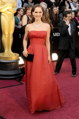 Natalie Portman sports red at the 84th Annual Academy Awards held at the Hollywood & Highland Center in Hollywood, Calif. on February 26, 2012