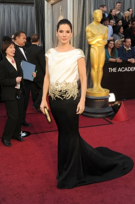 Sandra Bullock sports a black and white gown at the 84th Annual Academy Awards held at the Hollywood & Highland Center in Hollywood, Calif. on February 26, 2012