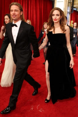 Brad Pitt and Angelina Jolie arrive at the 84th Annual Academy Awards held at the Hollywood &amp; Highland Center, Hollywood, on February 26, 2012