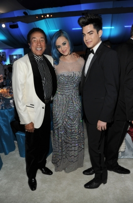 Smokey Robinson, Katy Perry, and Adam Lambert attend the 20th Annual Elton John AIDS Foundation Academy Awards Viewing Party at The City of West Hollywood Park, West Hollywood, on February 26, 2012