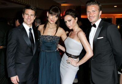 Tom Cruise, Katie Holmes, Victoria Beckham and David Beckham attend the 2012 Vanity Fair Oscar Party Hosted By Graydon Carter at Sunset Tower in West Hollywood, Calif. on February 26, 2012