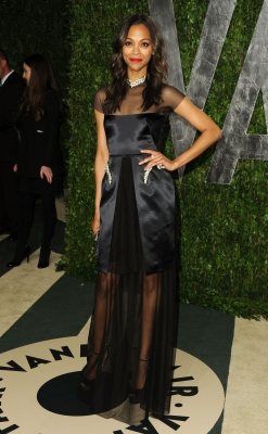 Zoe Saldana captivates at the 2012 Vanity Fair Oscar Party in West Hollywood, Calif., on February 26, 2012