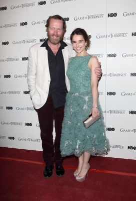 Iain Glen and Emilia Clarke attend the DVD launch of the complete first season of 'Game Of Thrones' at Old Vic Tunnels, London, on February 29, 2012