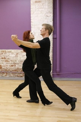 Anna Trebunskaya and Jack Wagner are seen striking a graceful pose while rehearsing for 'Dancing with the Stars'