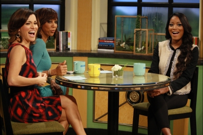 Kit Hoover, Holly Robinson Peete and Keke Palmer laugh on Access Hollywood Live on March 2, 2012