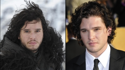 Kit Harington as Jon Snow (left) and at the Golden Globes (right)