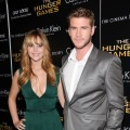 Jennifer Lawrence and Liam Hemsworth are seen at the Cinema Society &amp; Calvin Klein Collection screening of &#8216;The Hunger Games&#8217; in New York City on March 20, 2012