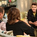 Justin Bieber seen with Billy Bush and Kit Hoover on the set of Access Hollywood Live on March 27, 2012
