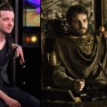 Gethin Anthony on the Access Hollywood set (left) and as Renly Baratheon in 'Game of Thrones' Season 2 (right)