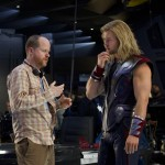 Joss Whedon directs Chris Hemsworth in this still from the set of &#8216;Marvel&#8217;s The Avengers&#8217;