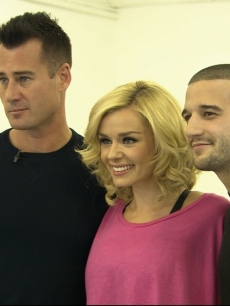 Access Hollywood&#8217;s Tim Vincent with Katherine Jenkins and Mark Ballas in London, March 2012