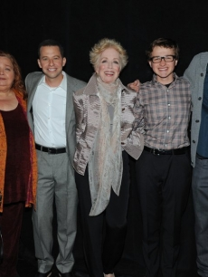 Lee Aronsohn, Conchata Ferrell, Jon Cryer, Holland Taylor, Angus T. Jones, Ashton Kutcher and Chuck Lorre attend the Paley Center for Media's PaleyFest 2012 event honoring 'Two and a Half Men,' Los Angeles, March 12, 2012