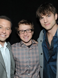 Jon Cryer, Angus T. Jones and Ashton Kutcher attend the Paley Center for Media's PaleyFest 2012 event honoring 'Two and a Half Men,' Los Angeles, March 12, 2012