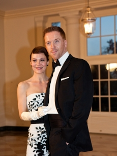 Helen McCrory and husband — 'Homeland' star Damian Lewis — arrive for a State Dinner in honor of British Prime Minister David Cameron at the White House, Washington D.C., on March 14, 2012