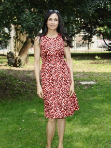 Famke Janssen wears a print dress at the 2012 Busto Arsizio Film Festival photocall in Busto Arsizio, Italy, on March 24, 2012