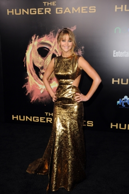 Jennifer Lawrence arrives at the premiere of Lionsgate's 'The Hunger Games' at Nokia Theatre L.A. Live, Los Angeles, on March 12, 2012