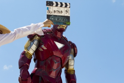 Robert Downey Jr. as Iron Man on the set of 'Marvel's The Avengers'