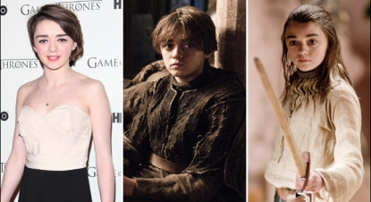 Maisie Williams at the 'Game of Thrones' DVD launch in February 2012 (left), Maisie as Arya in Season 2 (middle), Maisie as Arya in Season 1 (right)