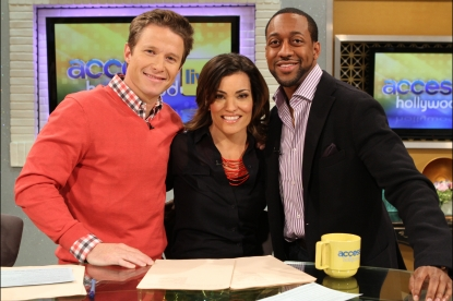 Billy Bush, Kit Hoover and Jaleel White smile on Access Hollywood Live on March 21, 2012