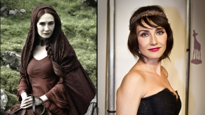 Carice van Houten as Melisandre (left) and Carice van Houten at the Netherlands film festival in September 2011 (right)