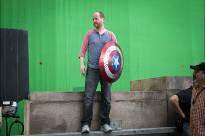 Joss Whedon stands in a shot on 'Marvel's The Avengers'