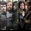 'Game of Thrones' stars Liam Cunningham as Davos Seaworth; Daniel Portman, who plays Podrick Payne; Alfie Allen as Theon Greyjoy; Rory McCann as The Hound; Tom Wlaschiha as Jaqen H'ghar; Kit Harington as Jon Snow; Maisie Williams as Arya Stark; Carice van Houten as Melisandre; Gethin Anthony as Renly Baratheon