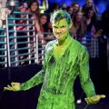 Taylor Lautner gets slimed at Nickelodeon's 25th Annual Kids' Choice Awards held at Galen Center in Los Angeles on March 31, 2012