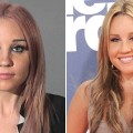 Amanda Bynes in her booking photo, April 6, 2012 (left), and at the MTV Movie Awards on June 5, 2011 (right)