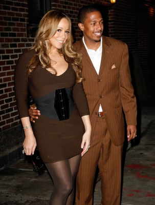 Mariah Carey and hubby Nick Cannon seen in similar brown hues outside the 'Late Show With David Letterman' at the Ed Sullivan Theater in New York City on November 9, 2009