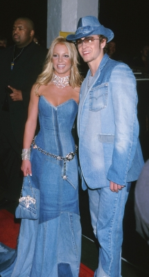 Then &#8216;it&#8217; couple Britney Spears and Justin Timberlake got the blues with matching denim outfits at the 28th Annual American Music Awards in Los Angeles, Cali., on January 8, 2001  