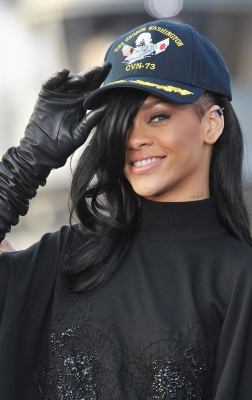 Rihanna shows off her new hair color at the 'Battleship' press conference on the USS George Washington at U.S. Fleet Activities Yokosuka in Yokosuka, Japan on April 2, 2012