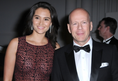 Emma Heming and Bruce Willis arrives at The Weinstein Company and Realativity Media's 2011 Golden Globes after party held at Bar 210 inside The Beverly Hilton hotel in Beverly Hills, Calif. on January 16, 2011