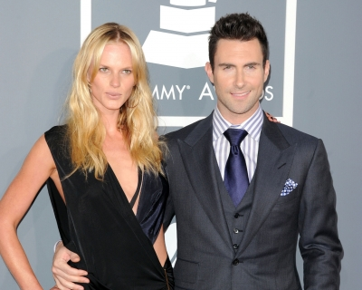 Adam Levine and Anne Vyalitsyna arrive at the 54th Annual Grammy Awards held at Staples Center in Los Angeles on February 12, 2012