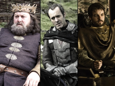 Robert Baratheon was king in Season 1 of 'Game of Thrones,' but he died. In Season 2, his middle brother Stannis Baratheon (center) wants the crown as does little brother Renly Baratheon (far right)