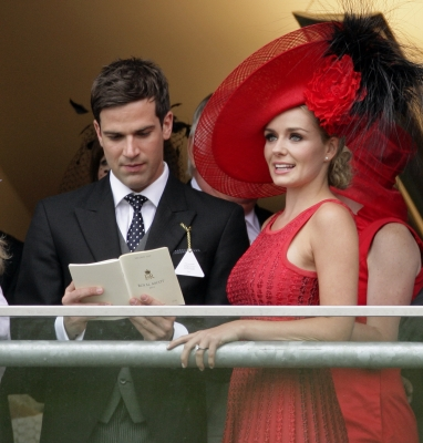 Gethin Jones and Katherine Jenkins watch the racing as they attend day 2 of Royal Ascot at Ascot Racecourse, AScot, UK, on June 15, 2011