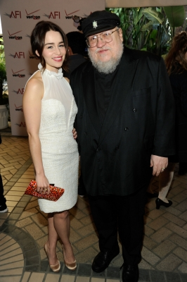 Emilia Clarke and George R.R. Martin arrive at at the 12th Annual AFI Awards held at the Four Seasons Hotel Los Angeles at Beverly Hills on January 13, 2012