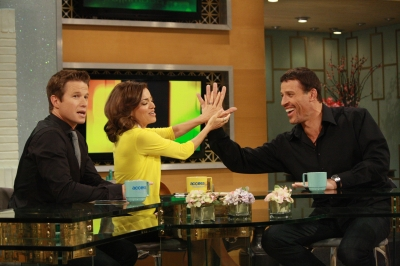 Tony Robbins discusses his new TV show 'Breakthrough' with Billy Bush and Kit Hoover on Access Hollywood Live on April 13, 2012