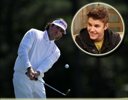 Bubba Watson hits a shot at the Masters tournament on April 8, 2012 (Inset: Justin Bieber on Access Hollywood Live)