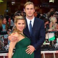 A pregnant Elsa Pataky and Chris Hemsworth attend the European premiere of 'The Avengers' in London on April 19, 2012