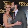 Katherine Heigl gets a kiss from husband Josh Kelley at the Paris premiere of 'One For the Money' at Cinema Gaumont Marigan, Paris, January 31, 2012