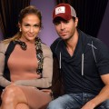 Jennifer Lopez and Enrique Iglesias pose backstage at a press conference at Boulevard3 in Hollywood, Calif. on April 30, 2012