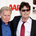 Martin Sheen and Charlie Sheen attend AARP Movies for Grownups film festival - &#8216;The Way&#8217; premiere at Nokia Theatre L.A. Live, Los Angeles, on September 23, 2011 