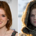 Rose Leslie in London in March 2012 (left), and as Ygritte in &#8216;Game of Thrones&#8217; (right)