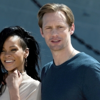 Rihanna and Alexander Skarsgard attend the &#8216;Battleship&#8217; Photo Call at the Battleship Missouri Memorial, Pearl Harbor, Oahu, Hawaii, on April 28, 2012 