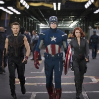 Jeremy Renner, Chris Evans and Scarlett Johansson in 'The Avengers'