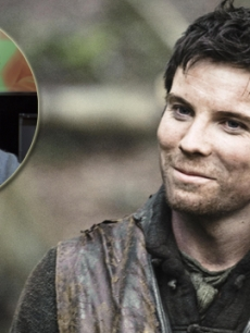 Joe Dempsie as Gendry in 'Game of Thrones,' and at Access Hollywood (inset)